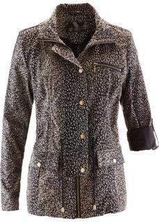 Удлиненная куртка с леопардовым принтом (черный/серо-коричневый с рисунком) Bonprix