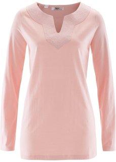 Туника с вышивкой и длинным рукавом (жемчужно-розовый) Bonprix