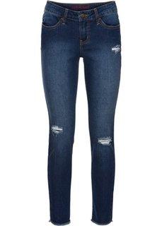 Узкие джинсы до щиколоток в поношенном стиле (синий «потертый») Bonprix