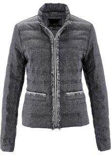 Стеганая куртка с имитацией денима (черный/белый с рисунком) Bonprix