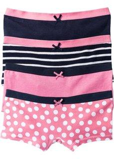 Трусики-панти (4 шт.) (ярко-розовый/темно-синий/белый) Bonprix