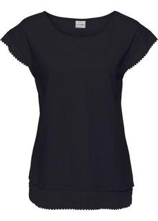 Короткая широкая футболка с кружевной отделкой (черный) Bonprix