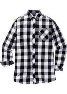 Длинная рубашка Regular Fit с длинным рукавом (черный/белый в клетку) Bonprix