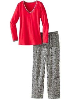 Пижама с длинными брюками (красный/леопардовый) Bonprix