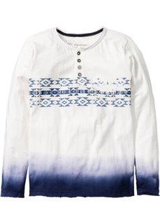 Футболка с длинным рукавом и стильным принтом, Размеры  116/122-164/170 (цвет белой шерсти/темно-синий) Bonprix