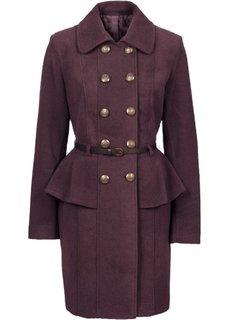 Пальто с баской (баклажановый) Bonprix