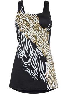 Платье-купальник (черный/белый/золотистый) Bonprix