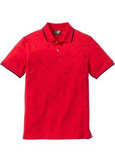 Футболка-поло Regular Fit (красный с рисунком) Bonprix