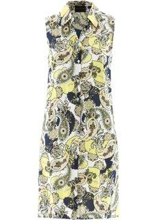 Удлиненная блузка с рисунком (темно-синий/лимонный сорбет с рисунком) Bonprix