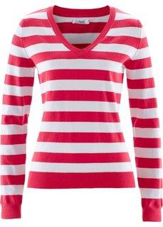 Пуловер (ярко-розовый/белый) Bonprix