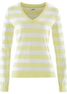 Пуловер (лимонный/белый в полоску) Bonprix
