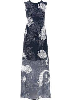 Длинное шифоновое платье (темно-синий с узором пейсли) Bonprix