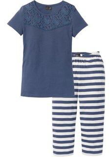 Пижама-капри (темно-синий/кремовый в полоску) Bonprix