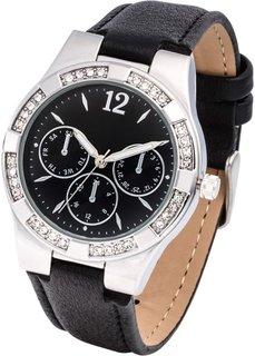 Часы со стразами в области корпуса (черный/серебристый) Bonprix
