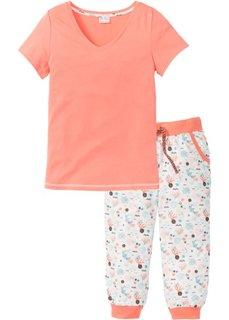 Пижама-капри (нежно-персиковый с рисунком) Bonprix