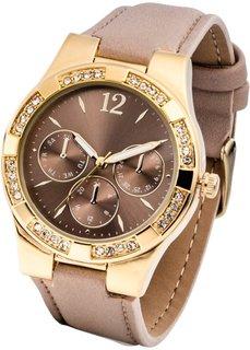 Часы со стразами в области корпуса (серо-коричневый/золотистый) Bonprix