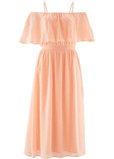 Шифоновое платье с принтом (светлый персиковый) Bonprix