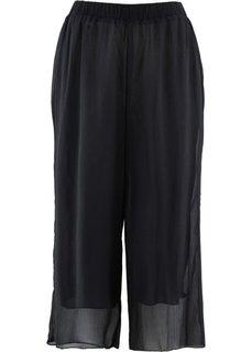 Шифоновые брюки длины 3/4 (черный) Bonprix
