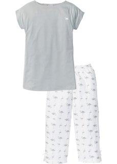 Пижама-капри (серый/белый с принтом) Bonprix
