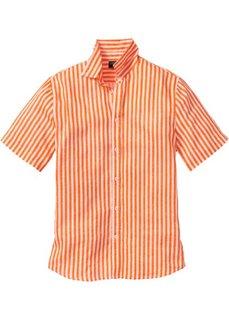 Льняная рубашка Regular Fit с коротким рукавом (оранжевый/белый в полоску) Bonprix
