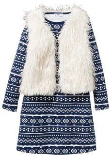Мини-платье с принтом + безрукавка (2 изд.) (темно-синий/цвет белой шерсти) Bonprix