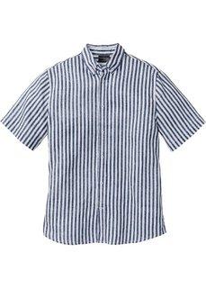 Льняная рубашка Regular Fit с коротким рукавом (темно-синий/белый в полоску) Bonprix