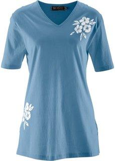 Удлиненная футболка (синий джинсовый/белый) Bonprix
