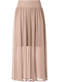 Длинная прозрачная юбка (бежевый матовый) Bonprix