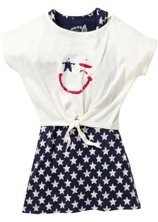 Трикотажное платье + футболка (2 изд.) (темно-синий/цвет белой шерсти с рисунком) Bonprix