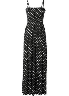 Макси-платье с буфами (черный/белый в горошек) Bonprix