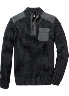 Пуловер Regular Fit с воротником-стойкой (антрацитовый меланж) Bonprix