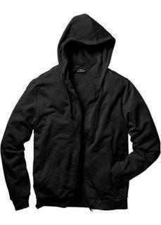 Трикотажная куртка стандартного покроя с капюшоном (черный) Bonprix