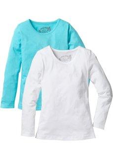 Однотонная футболка с длинными рукавами (2 шт.) (аква/белый) Bonprix