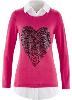 Пуловер 2 в 1 с длинным рукавом (светлый ярко-розовый) Bonprix