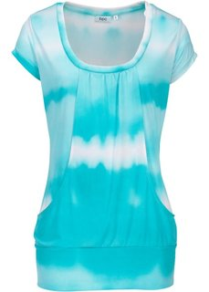 Длинная футболка стретч (батичная аква/белый) Bonprix