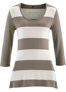 Удлиненная футболка с рукавом 3/4 (цвет белой шерсти/серо-коричневый в полоску) Bonprix