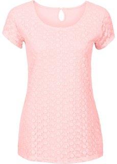 Кружевная футболка (коралловый) Bonprix