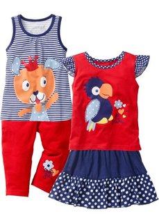 Топ + футболка + юбка + леггинсы длиной 3/4 (4 изделия) (ночная синь/клубничный) Bonprix