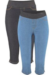 Джинсовые легинсы-капри (2 шт.), cредний рост (N) (синий/черный) Bonprix