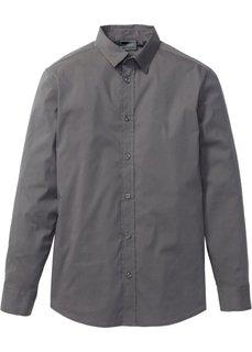 Рубашка стретч зауженного покроя (дымчато-серый) Bonprix