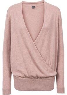Пуловер с эффектом запаха (винтажно-розовый) Bonprix