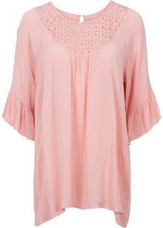 Блузка с кружевной вставкой (нежно-коралловый) Bonprix