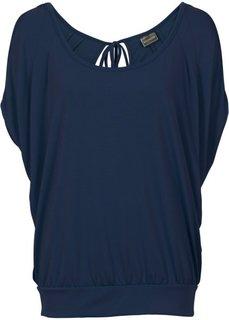 Широкая футболка с модными разрезами (темно-синий) Bonprix