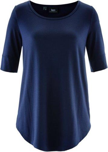 Удлиненная вискозная футболка (темно-синий)