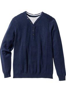Пуловер 2 в 1 Regular Fit (темно-синий) Bonprix