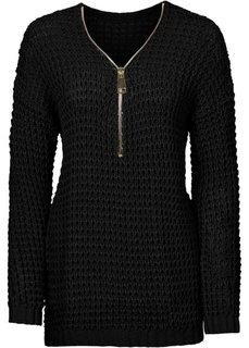 Вязаный пуловер с вырезом на молнии (черный) Bonprix