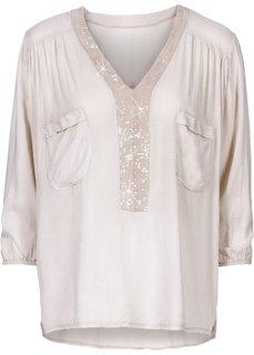 Блузка с пайетками (песочный) Bonprix