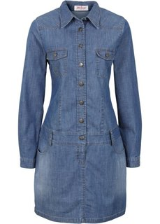 Стрейтчевое джинсовое платье с длинным рукавом (темно-синий) Bonprix