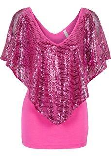 Пуловер с воланом (ярко-розовый) Bonprix