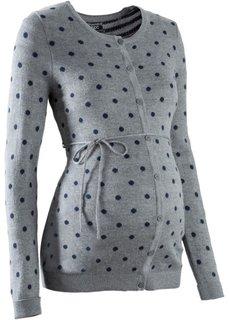 Мода для беременных: кардиган в горошек (серый меланж/темно-синий в горошек) Bonprix